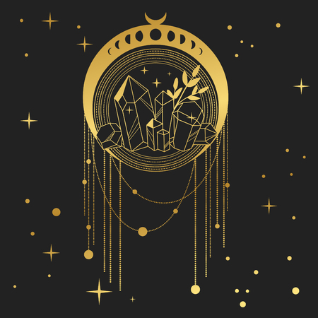 Dream catcher with crystals and moon phases. Vector hand drawn illustration in boho style