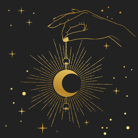 Hand holding crescent moon. Vector illustration in boho style. Иллюстрация