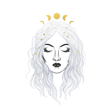 Beautiful girl in golden crown. Vector illustration in boho style Ilustrace