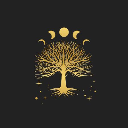 Święte drzewo. Ręcznie rysowane ilustracja wektorowa