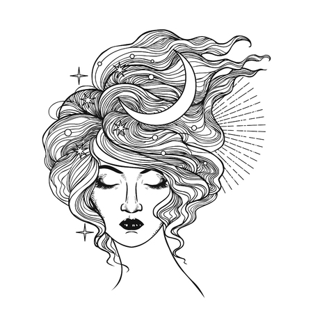 Beautiful woman with her hair in her hair. Vector hand drawn illustration