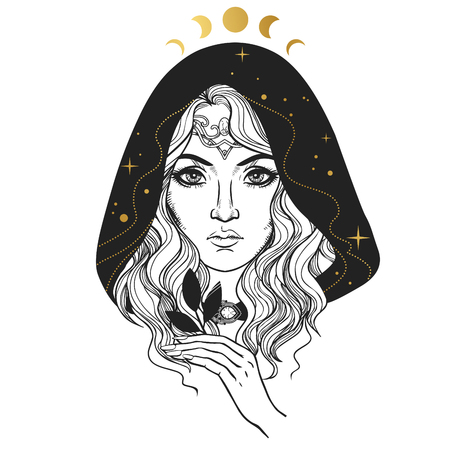 Mysterious woman elf in the hood. Vector hand drawn illustration