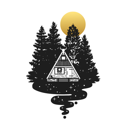 Tiny cabin in the forest. Vector hand drawn illustration