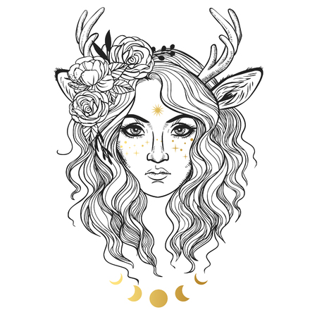 Female faun portrait. Vector hand drawn illustration