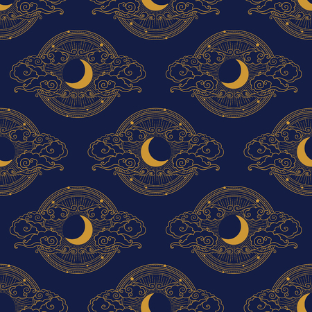 Moon in cloudy sky. Vector hand drawn seamless pattern in oriental style