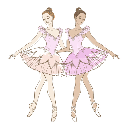 Two graceful ballerinas in pink dresses on white background. Vector hand drawn illustration