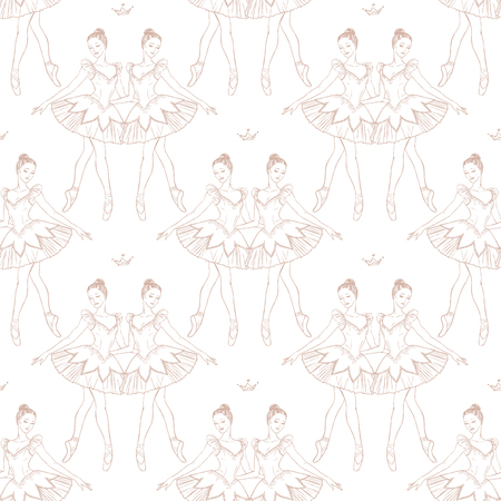 Vector seamless background with pretty ballerinas Illustration