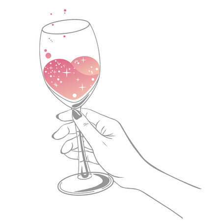 Glass of wine in woman's hand. Vector illustration