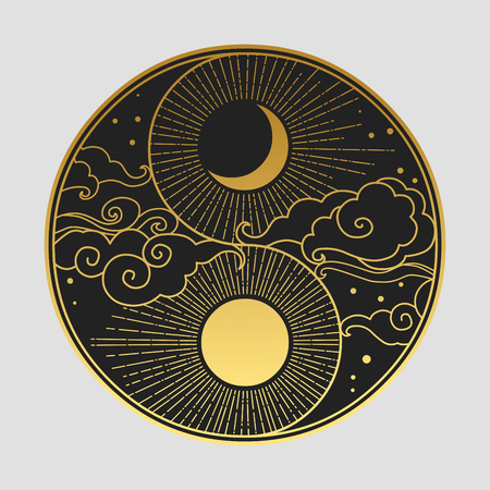 Decoratief grafisch ontwerpelement in oosterse stijl. Zon, maan, wolken, sterren. Vector hand tekenen illustratie Vector Illustratie