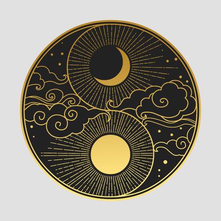 Elemento di design grafico decorativo in stile orientale. Sole, luna, nuvole, stelle. Illustrazione di disegno a mano di vettore Vettoriali
