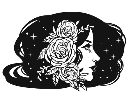 Beautiful girl with roses in her hair. Vector hand drawn illustration