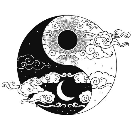 Élément de design graphique décoratif dans un style oriental. Soleil, lune, nuages, étoiles. Illustration de dessin vectoriel main