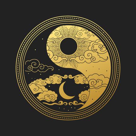 Elemento di design grafico decorativo in stile orientale. Sole, luna, nuvole, stelle. Illustrazione di disegno a mano di vettore