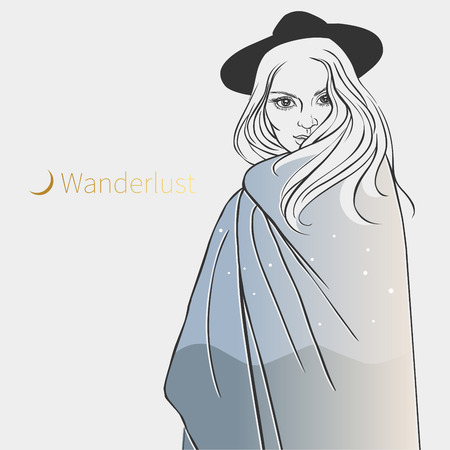 Pretty girl in poncho. Vector hand drawn illustration