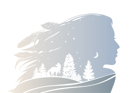 Female silhouette with fox and trees. Vector illustration