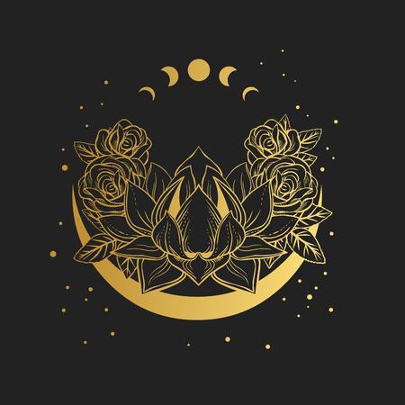 Fiore di loto dorato su sfondo nero. Illustrazione disegnata a mano di vettore Vettoriali