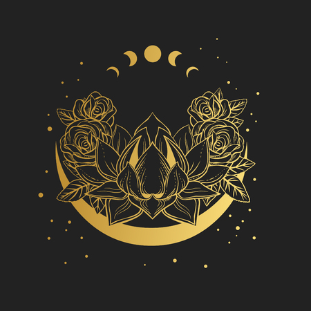 Golden lotus flower on black background. Vector hand drawn illustration