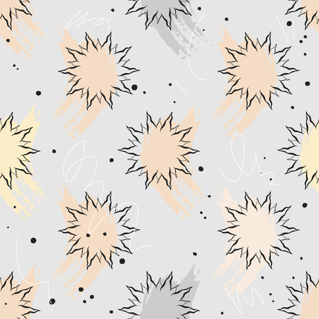Vector seamless pattern with smears and stars Illustration