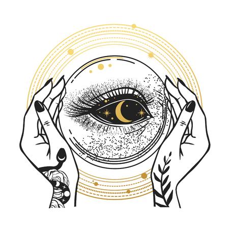 De duisternis in de kristallen bol. T-shirt prints, tijdelijke tatoeages en andere ontwerpen Vector Illustratie