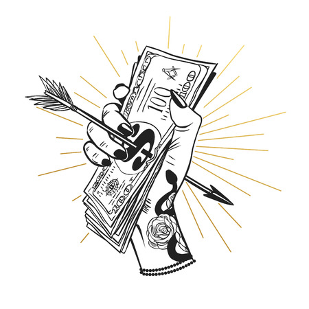 Female hand holding a bundle of money, pierced by arrow. Vector hand drawn llustration  イラスト・ベクター素材