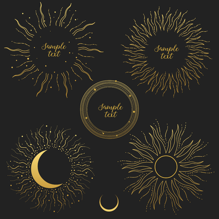 Shiny rays of Sun and Moon. Set of design elements on dark background.