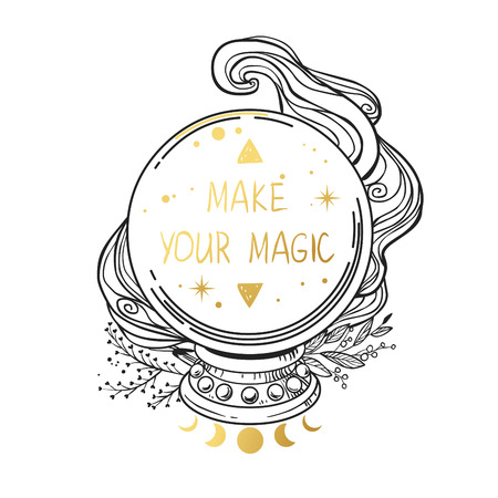 Magic crystal ball. Vector hand drawn illustration Illustration