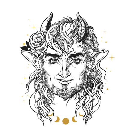 Smiling faun with rose. Vector hand drawn illustration Illustration