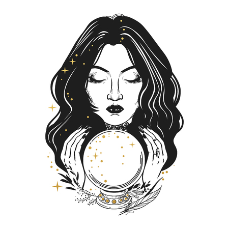 Pretty fortune teller looking through a crystal ball. Illustration