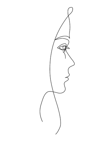 Young girl's face. Line sketch on white background