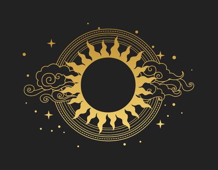 Diseño gráfico decorativo con estilo oriental. Sol con rayos y nubes.