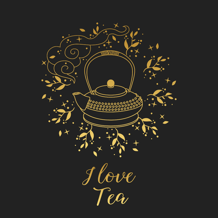 Teapot and floral wreath on black background.
