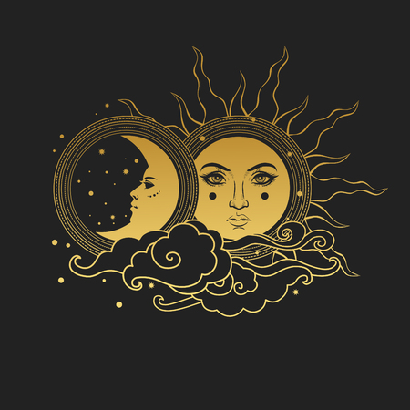 Moon and Sun, Day and Night. Illustration