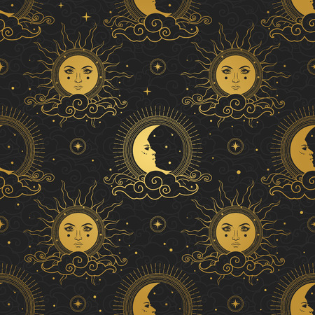 Sol y luna en cielo estrellado.