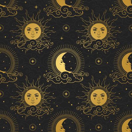 Sonne und Mond am Sternenhimmel.