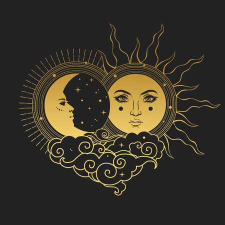 Moon and Sun, Day and Night. Vectores