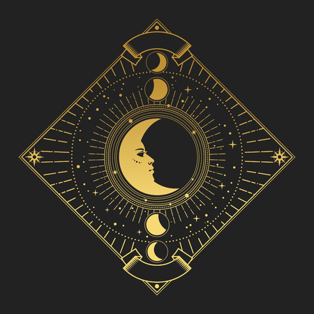 illustration in magic vintage style. Golden ornate frame with moon on black background
