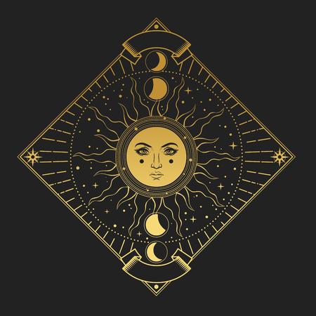 Illustration im magischen Vintage-Stil. Goldener verzierter Rahmen mit Sonne auf schwarzem Hintergrund Vektorgrafik