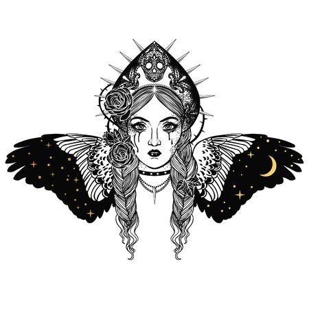 Sirin the bird, character from Russian folktales. Vector hand drawn lllustration. 向量圖像