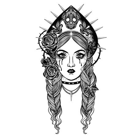 Princess Nesmeyana, character from Russian folktales. Vector hand drawn Illustration.