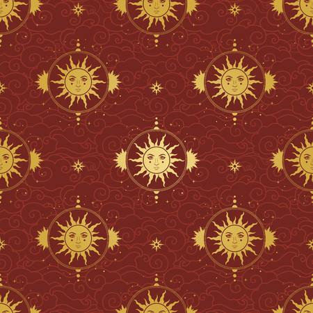 Golden Sun on red background. Vector hand drawn seamless pattern in vintage style