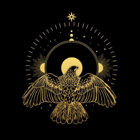 Bird of prey and halo. Vector hand drawn illustration 向量圖像