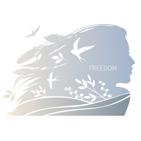 Young woman with flowing hair, swallows and plants. Vector hand drawn illustration Çizim