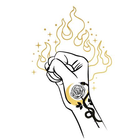 Raised fist. Vector hand drawn illustration