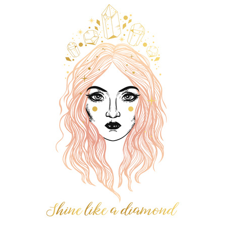 Beautiful girl in golden crown. Vector illustration in boho style Banque d'images - 124390614