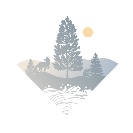 Wilderness area with coniferous trees, fox and mountains in the distance. Vector illustration on white background 向量圖像