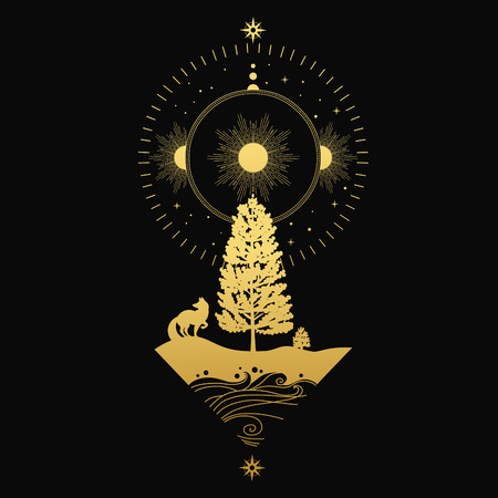 Northern Sun. Vector illustration for temporary tattoos, temporary tattoos and others designs.