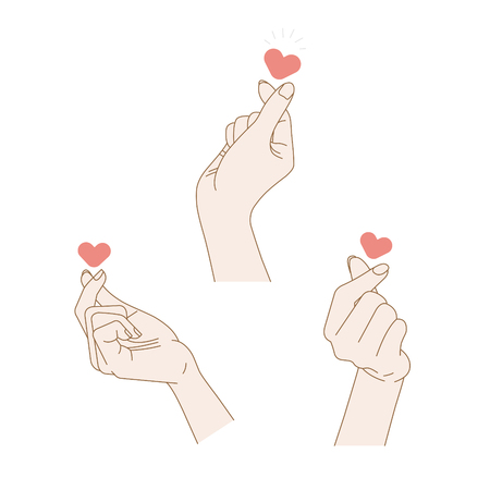 Sign of love. 3 vector hand drawn illustrations