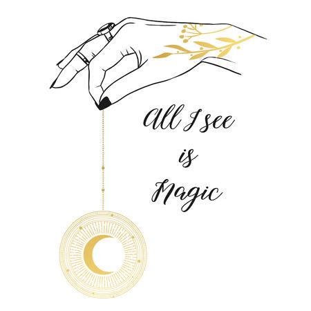 Moon pendulum in hand. Vector hand drawn illustration