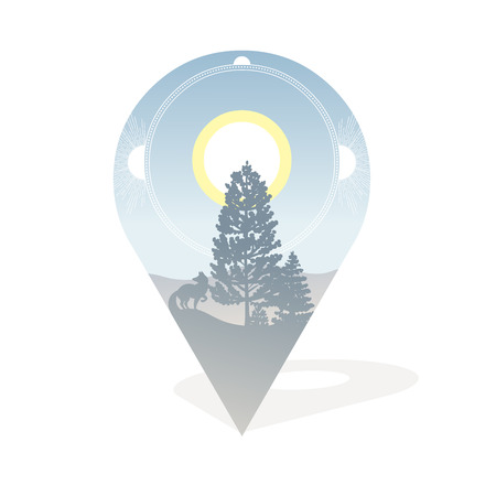 Wilderness area with coniferous trees, fox and mountain in the distance. Vector illustration on white background