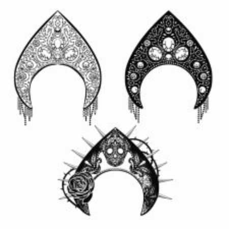 Kokoshnik, element of traditional russian womens costume. Vector objects on white background